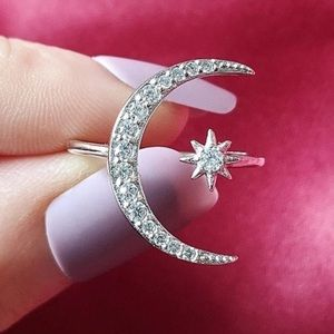 Star & Moon 925 Silver CZ Adjustable Ring 6 7 8